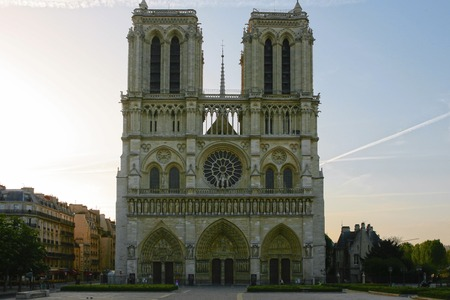 Notre Dame cathedral front view in paris france
