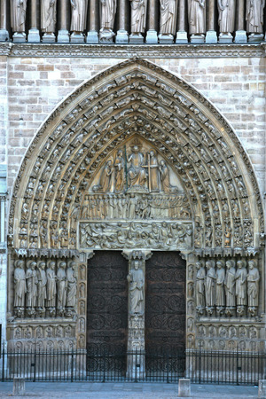 Notre Dame de Paris carhedral Last Judgment Portal entrance door in france Stock Photo