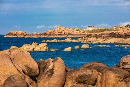 tregastel  Pink Granite Coast (cote de granit rose) in brittany France 版權商用圖片