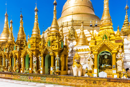 archictecture details of the Shwedagon Pagoda at Yangon (Rangoon) in Myanmar (Burma) Stock Photo