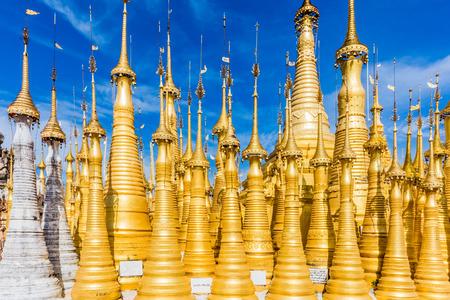 stupas of the Shwe Inn Dein Pagoda at Inle Lake Shan state in Myanmar (Burma)