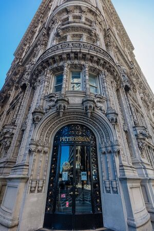 NEW YORK CITY- MARCH 23, 2018 : renaissance style design facade building of the Petrossian restaurant  Manhattan Landmarks