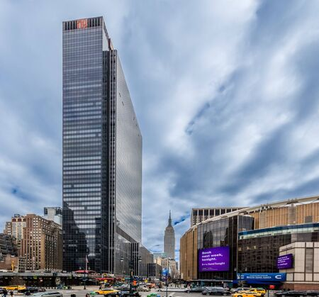 NEW YORK CITY- MARCH 25, 2018 : Madison square garden at joe louis plazaone of the main Manhattan Landmarks