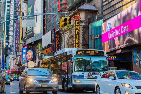 NEW YORK CITY- MARCH 26, 2018 : Theater District Broadway one of the main Manhattan Landmarks Editorial