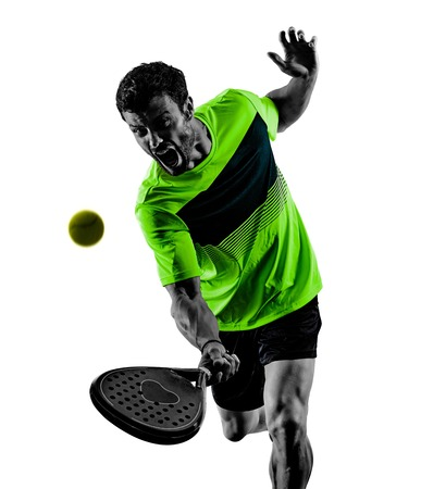 one caucasian man playing Paddle tennis player isolated on white background Banque d'images - 123145511
