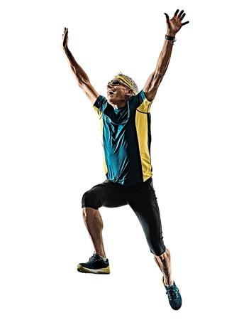 one caucasian senior man running runner jogger jogging  in studio shadow silhouette isolated on white background Reklamní fotografie