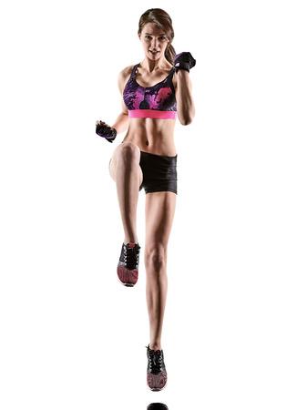 Une femme caucasienne exercice cardio boxe cross core workout fitness exercice aérobic silhouette isolé sur fond blanc Banque d'images