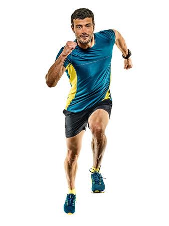 one caucasian handsome mature man running runner jogging jogger isolated on white background 版權商用圖片