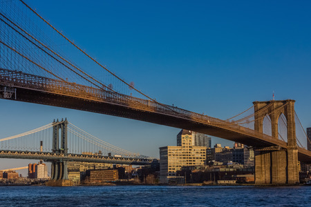 the Brooklyn and  Manhattan Bridges  Landmarks in New York City USA