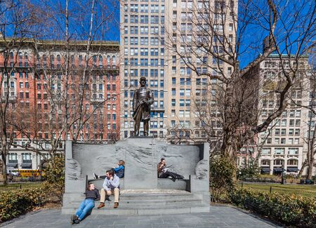 NEW YORK CITY- MARCH 26, 2018 : Madison square park one of the main Manhattan Landmarks