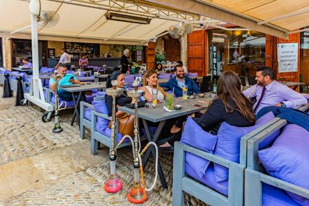 Byblos ,Lebanon- May 4 : restaurants of Old Souk Byblos Jbeil in Lebanon Middle east