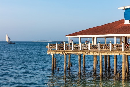 stilt floating house Stone Town waterfront in Unguja aka Zanzibar Island Tanzania East Africa Stock Photo