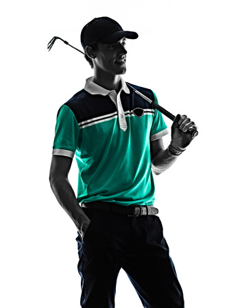 one young caucasian Man Golf golfer golfingshadow silhouette  isolated  on white background