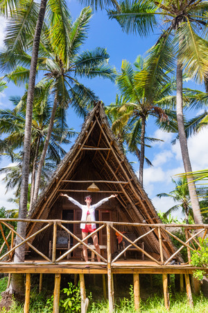 one caucasian woman enjoying vacations Kizimkazi in Unguja aka Zanzibar Island Tanzania East Africa Reklamní fotografie
