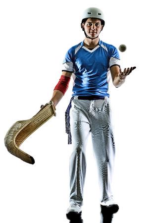 one caucasian Jai alai Basque pelota  Cesta Punta player man isolated on white background silhouette Imagens