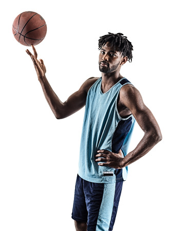 one afro-american african basketball player man isolated in silhouette shadow on white background Stock Photo