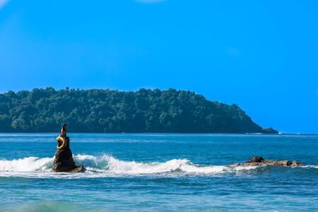 mermaid statue of Ngapali Beach near Thandwe at Rakhine state in Myanmar (Burma)