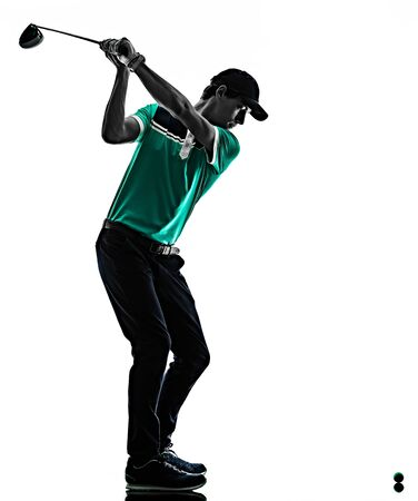 one young caucasian Man Golf golfer golfingshadow silhouette isolated on white background Zdjęcie Seryjne