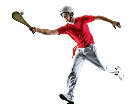 one caucasian Jai alai Basque pelota Cesta Punta player man isolated on white background silhouette