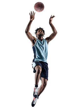 one afro-american african basketball player man isolated in silhouette shadow on white background Banco de Imagens