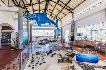 Villa De Leyva, Colombia - February 7, 2017 : fossil dinosaur of Centro de Investigaciones Paleontológicas Villa de Leyva Boyaca in Colombia South America
