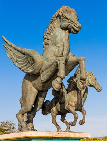 Cartagena , Colombia - March 5, 2017 : Pegasus Statues in Centro Historico aera of Cartagena de los indias Bolivar in Colombia South America Editorial
