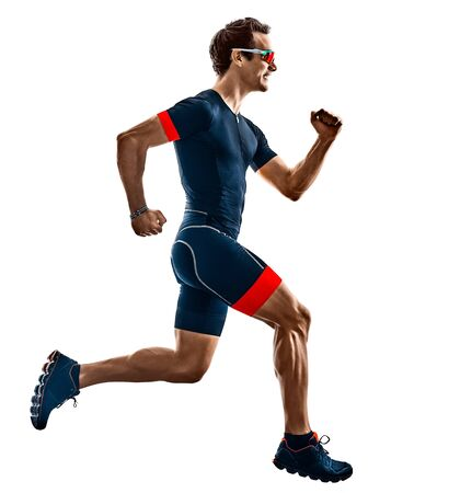 triathlete triathlon runner running in silhouette isolated on white background Stockfoto