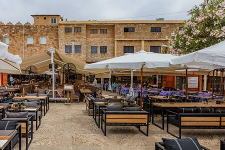 Byblos ,Lebanon- May 4 ,2017 : restaurants of Old Souk Byblos Jbeil in Lebanon Middle east Editorial