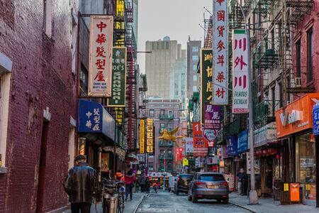 NEW YORK CITY- MARCH 27, 2018 : Chinatown streets one of the main Manhattan Landmarks