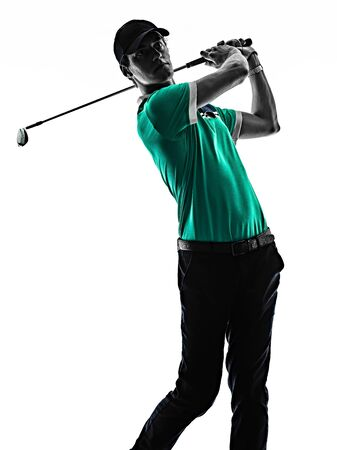 one young caucasian Man Golf golfer golfingshadow silhouette isolated on white background Banco de Imagens