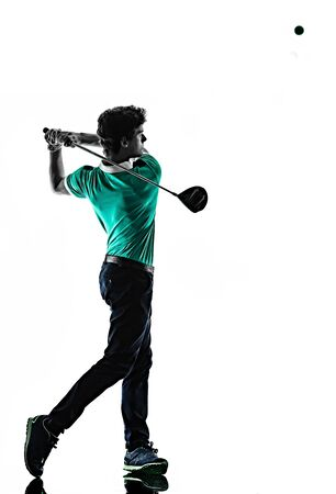 Un giovane uomo caucasico Golf golfista golfingshadow silhouette isolato su sfondo bianco Archivio Fotografico