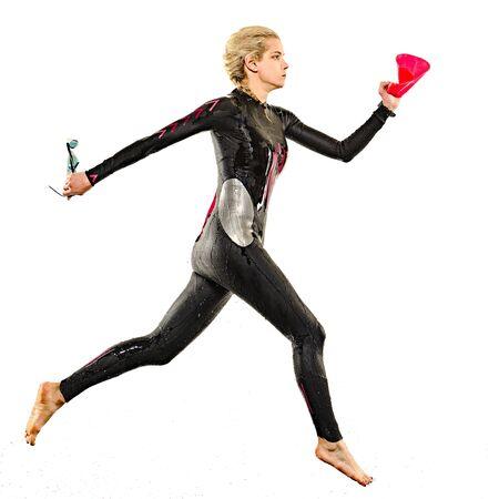 one caucasian woman practicing triathlon triathlete ironman swimmer swimming swimsuit studio shot isolated on white background Stock Photo