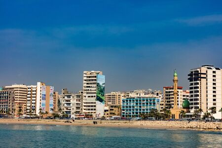 Saida,Lebanon- April 27 ,2017 : Sidon skyline cityscape waterfront in South Lebanon Middle east