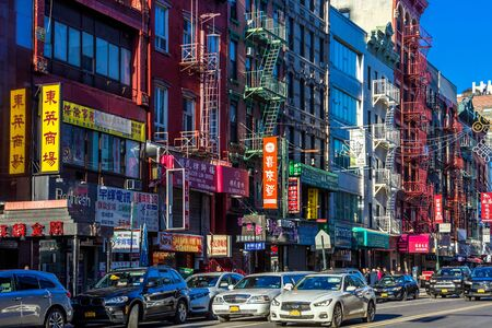 NEW YORK CITY- MARCH 26, 2018 : Chinatown streets one of the main Manhattan Landmarks Stock fotó - 128932095