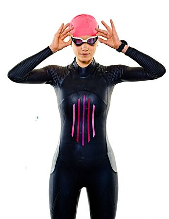 one caucasian woman practicing triathlon triathlete ironman swimmer swimming swimsuit studio shot isolated on white background Stockfoto