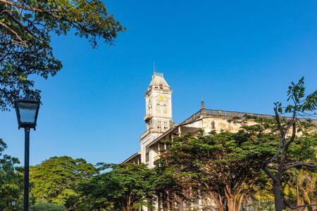 House of Wonders Beit-el-Ajaib tower clock Stone Town in Unguja aka Zanzibar Island Tanzania East Africa