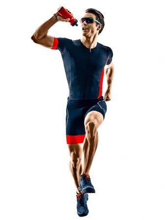 triathlete triathlon runner running in silhouette isolated on white background Stock Photo