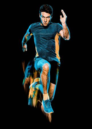 one caucasian runner running jogger jogging man light painting speed effect isolated on black background Stock Photo