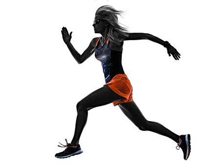 eine kaukasische schöne lange blonde haarfrau läuferin joggen joggen laufen studioaufnahme isoliert auf weißem hintergrund