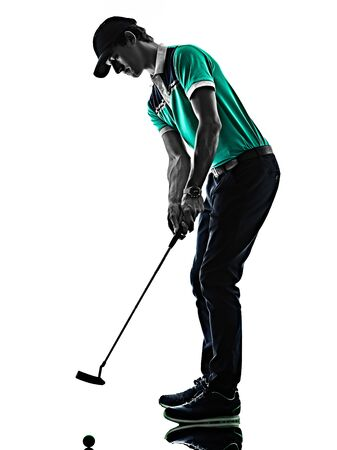 one young caucasian Man Golf golfer golfing shadow silhouette isolated on white background