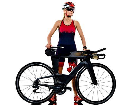 one caucasian woman practicing triathlon triathlete ironman studio shot isolated on white background