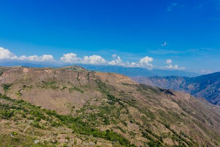 Chicamocha Canyon from Mesa de Los Santos landscapes andes mountains Santander in Colombia South America 스톡 콘텐츠