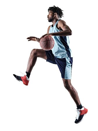 one afro-american african basketball player man isolated in silhouette shadow on white background Reklamní fotografie