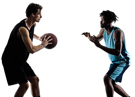 basketball players men isolated silhouette shadow Imagens