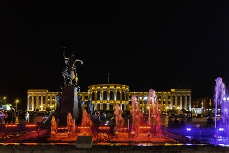 singing fountains of Vartanants Square landmark of Gyumri Shirak Armenia eastern Europe Stock Photo