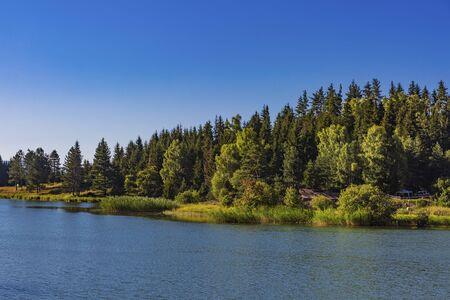 Kahisi Lake landscape in Dabadzveli near Borjomi landmark of Samtskhe Javakheti region Georgia eastern Europe