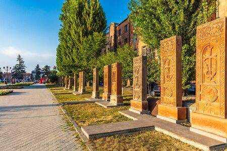 Khachkar tombstone of aboyan street landmark of Gyumri Shirak Armenia eastern Europe