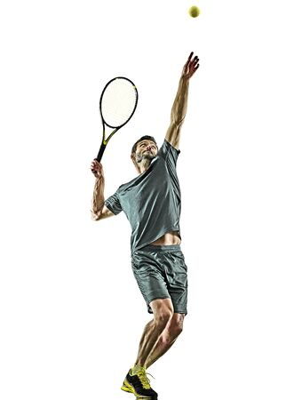 one caucasian mature tennis player man serving service in studio isolated on white background Archivio Fotografico - 134752466
