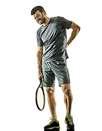 one caucasian mature tennis player man physical pain injury in studio isolated on white background Archivio Fotografico - 134752467