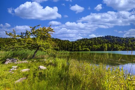 Kahisi Lake landscape in Dabadzveli near Borjomi landmark of Samtskhe Javakheti region Georgia eastern Europe